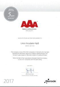 LINCO Incubator ApS Certificate 2017